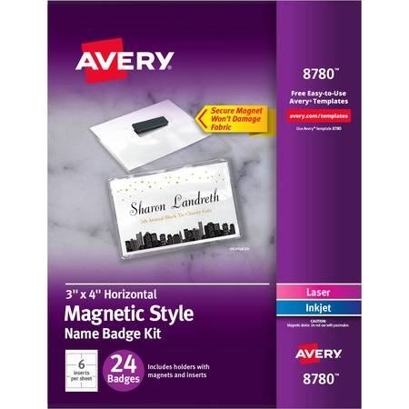 Avery Secure Magnetic Name Badges with Durable Plastic Holders and Heavy-duty Magnets