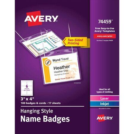 Avery Laser, Inkjet Laser/Inkjet Badge Insert