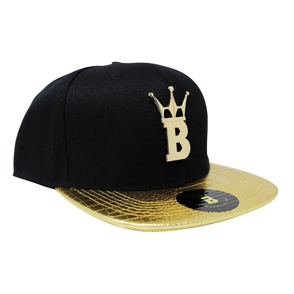 HipHopBling Gold Crown Logo Crocodile Brim Hat Snapback