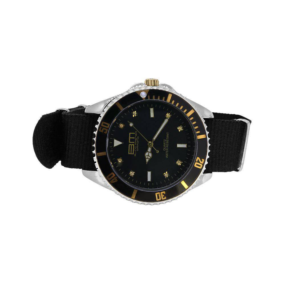 HipHopBling Genuine Diamond Bling Master Divers Sport Watch Gold with Black Nylon Strap