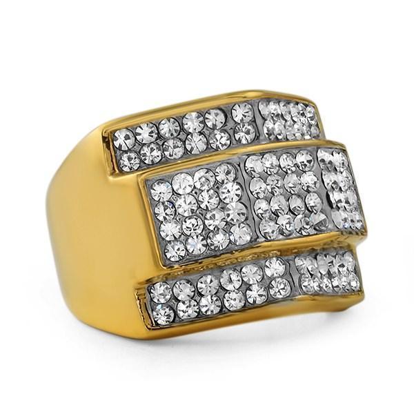 HipHopBling Custom Gold Stainless Steel Hip Hop Ring