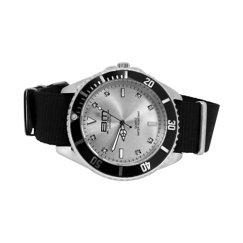 HipHopBling Genuine Diamond Divers Sport Watch Silver with Black Nylon Strap