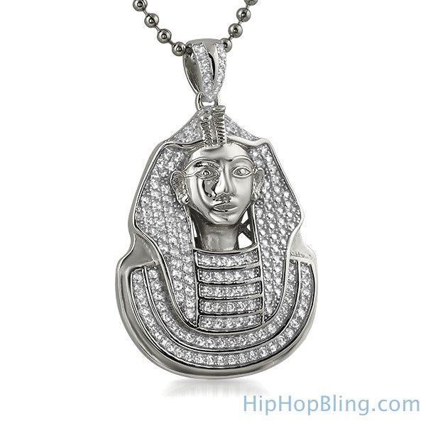 HipHopBling .925 Sterling Silver Mini Pharaoh CZ Pendant