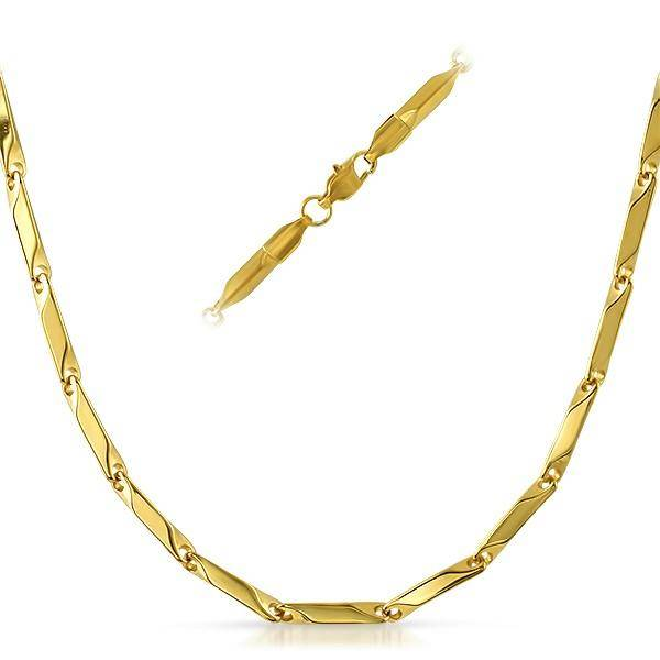 HipHopBling Bullet Stainless IP Gold Steel Chain Necklace 3MM