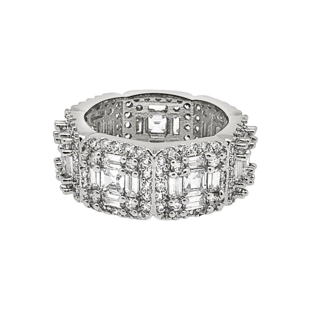 HipHopBling .925 Silver Exotic Baguette Princess Eternity Band CZ Rhodium Ring