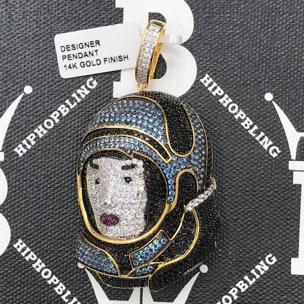 HipHopBling Woman in Space Suit CZ Hip Hop Bling Bling Pendant