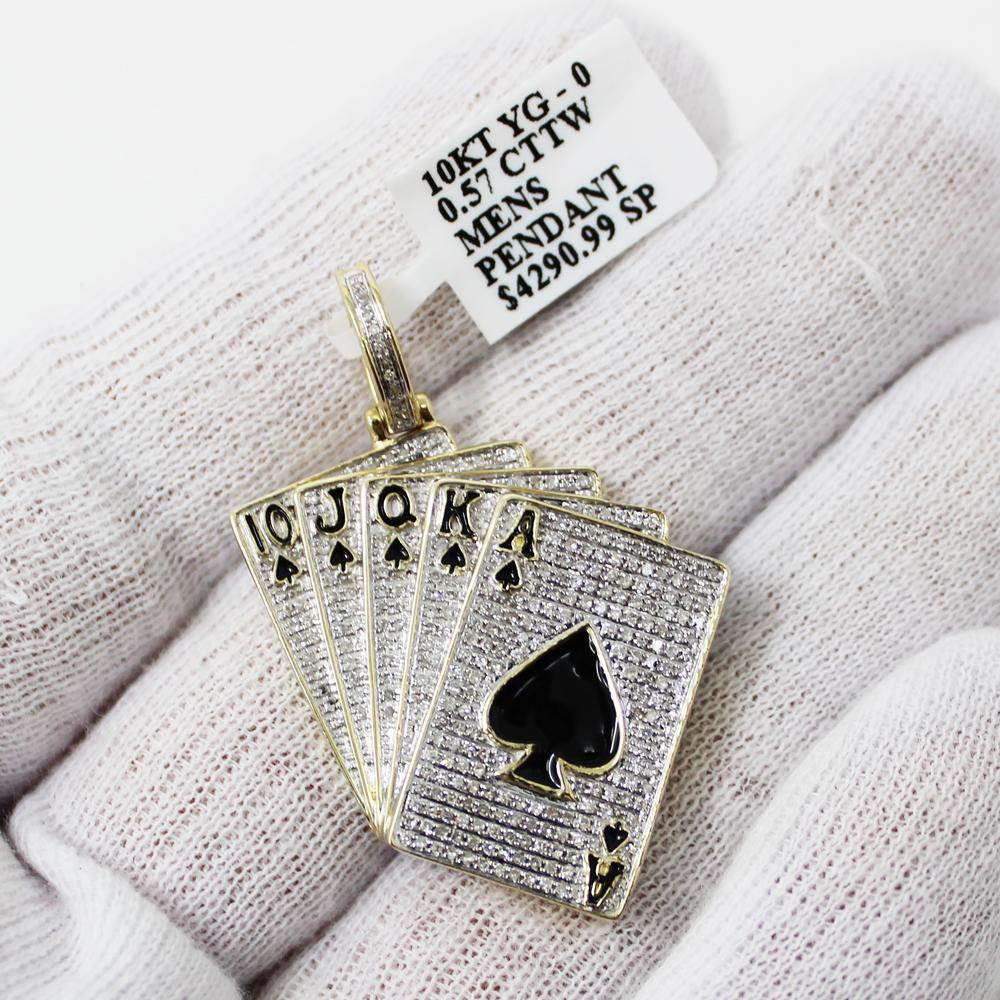 HipHopBling Royal Flush Poker .57cttw Diamond 10K Gold Hip Hop Pendant