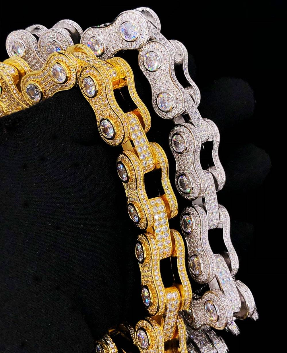 HipHopBling 3D Bike Link Bling Bling CZ Iced Out Chain
