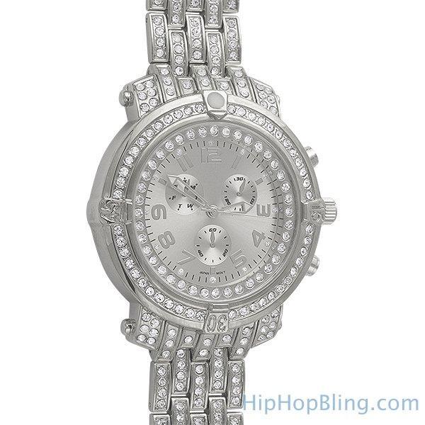 HipHopBling Custom Sport Platinum Bling Bling Watch