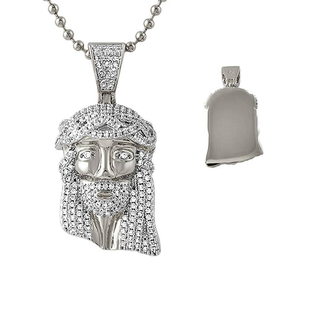 HipHopBling Iced Out Micro Jesus Rhodium Pendant Solid Back
