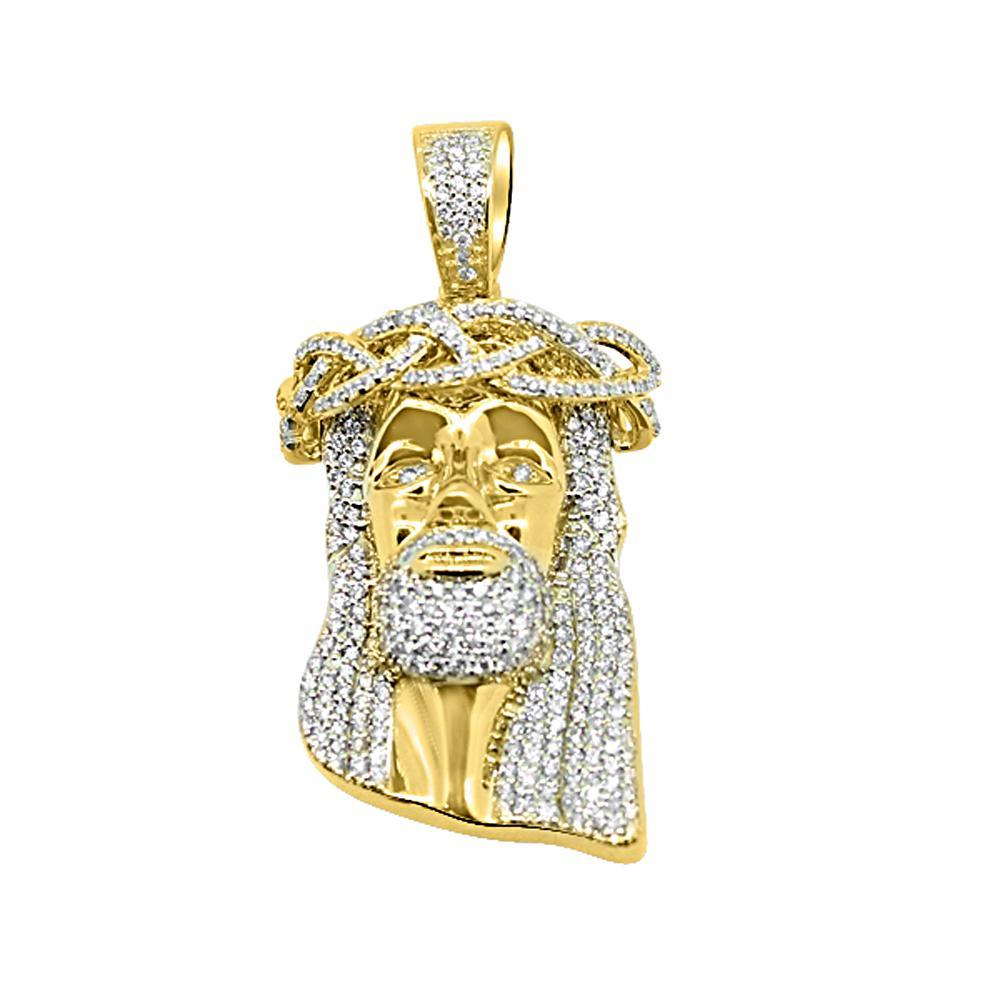 HipHopBling 14K Yellow Gold 1.94 Carats Diamond Medium Jesus Pendant