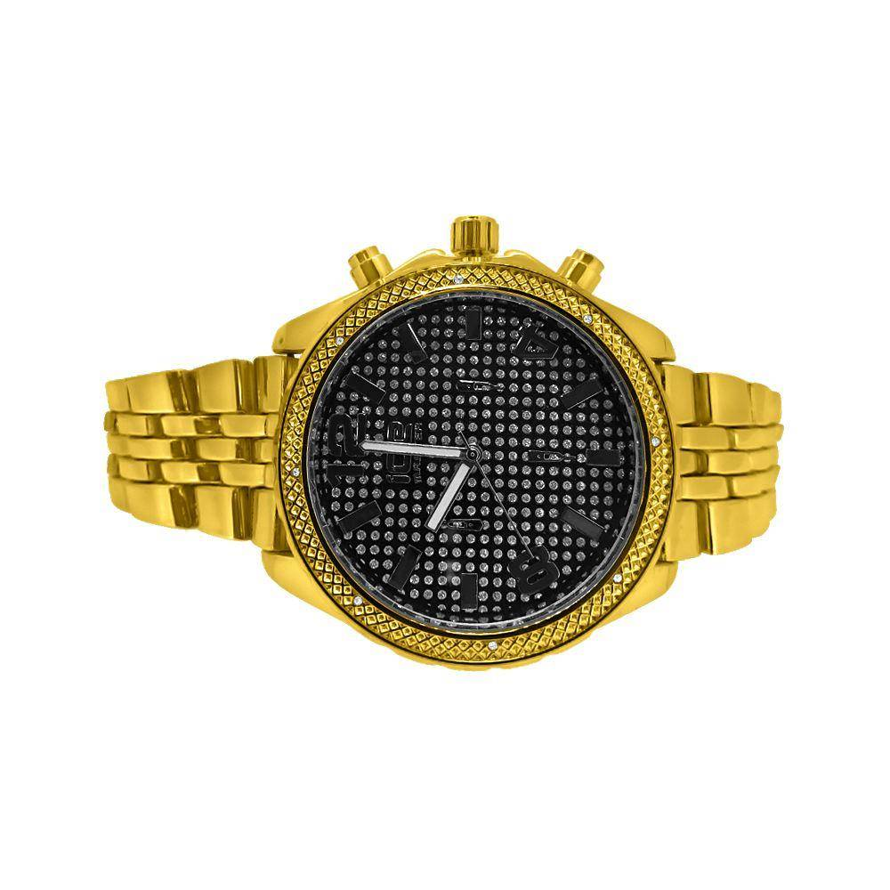 HipHopBling Black Dial Gold Sport Jubilee Hip Hop Watch