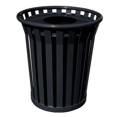 Witt WC3600-FT-BK 36 Gallon Outdoor Trash Can w/ Flat Top Lid & Anchor Kit, Black