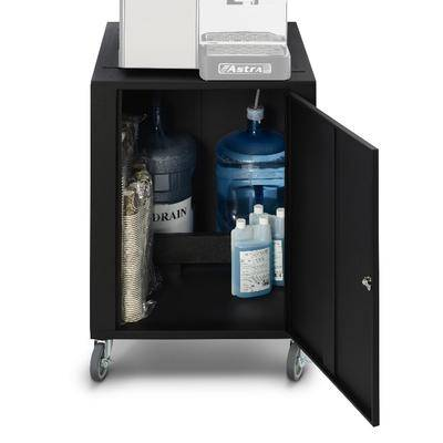 "Astra ""Astra CAR100 Espresso Cart w/ Water Jug - 26""""W x 26""""D x 69""""H, Steel, Black"""
