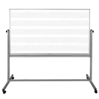 """Luxor Furniture """"Luxor MB7248MW 72"""""""" x 48"""""""" Mobile Double-Sided Music Whiteboard/Whiteboard w/ Aluminum Frame"""""""