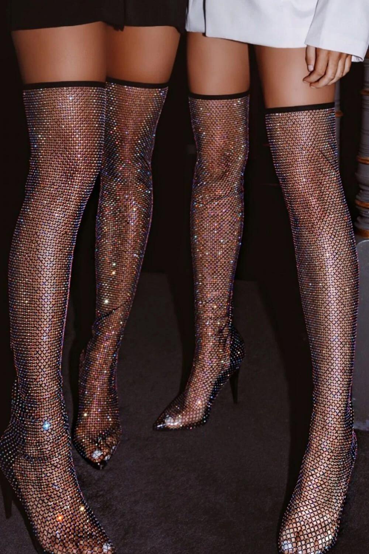 Crystal Fishnet Long Sock Boots