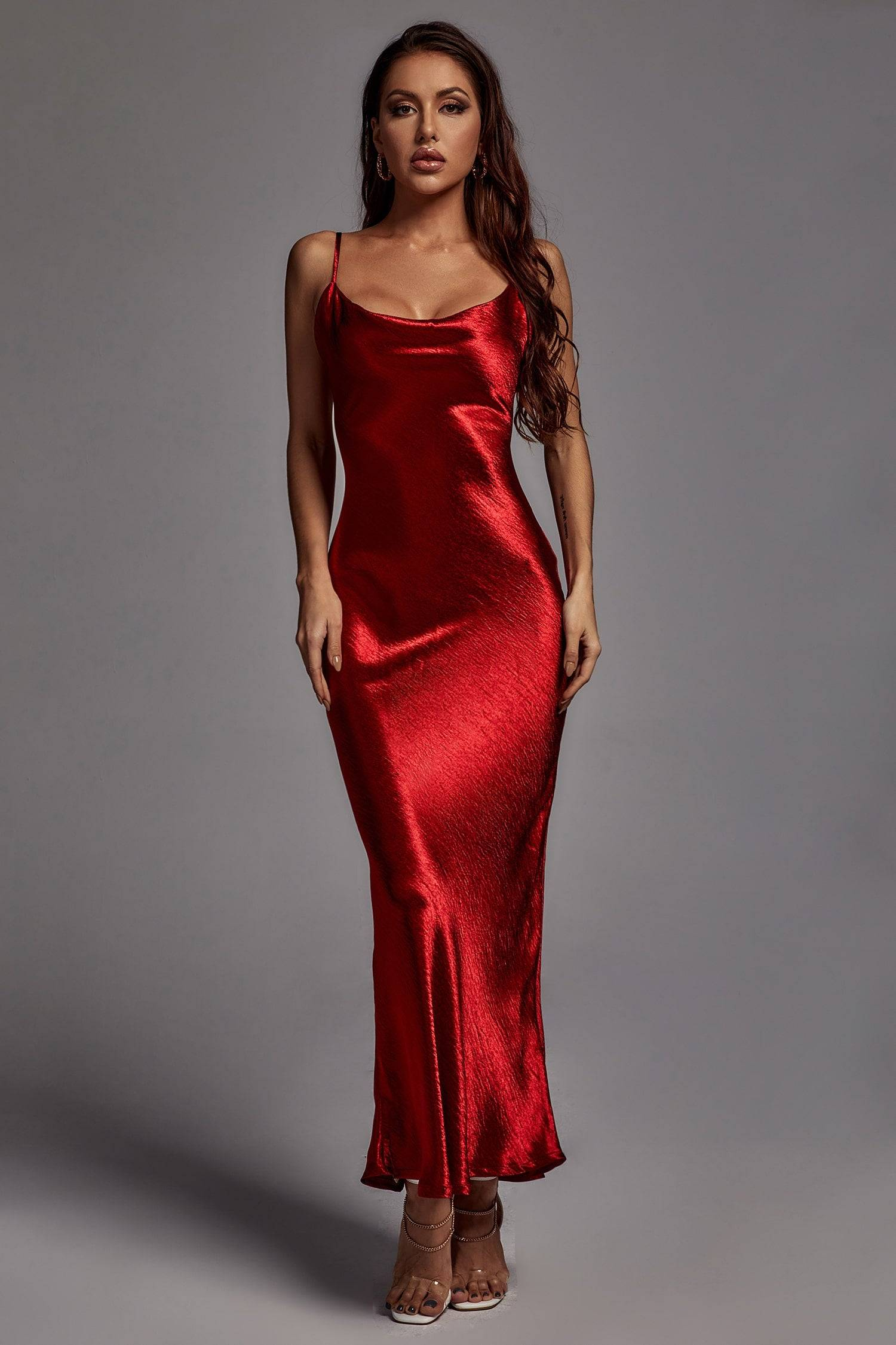 Emily Metallic Maxi Dress - Wine