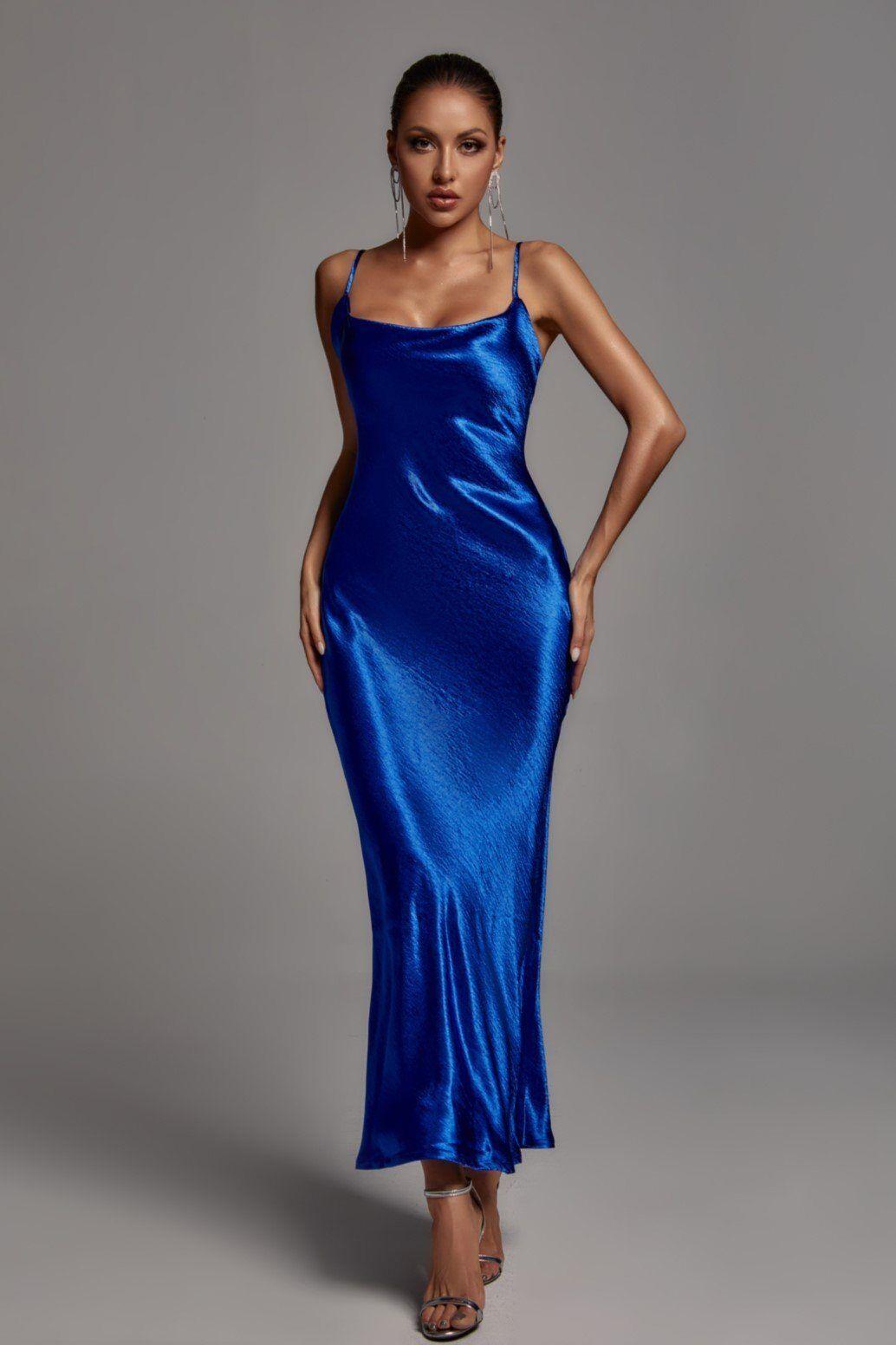 Emily Metallic Maxi Dress - Blue