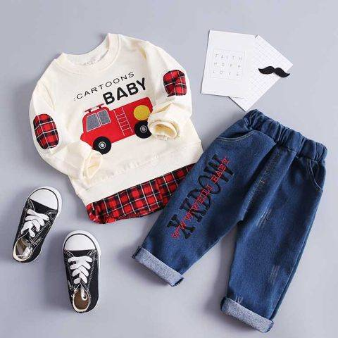 1 Autumn boy cartoon car print stitching round neck long-sleeved sweater