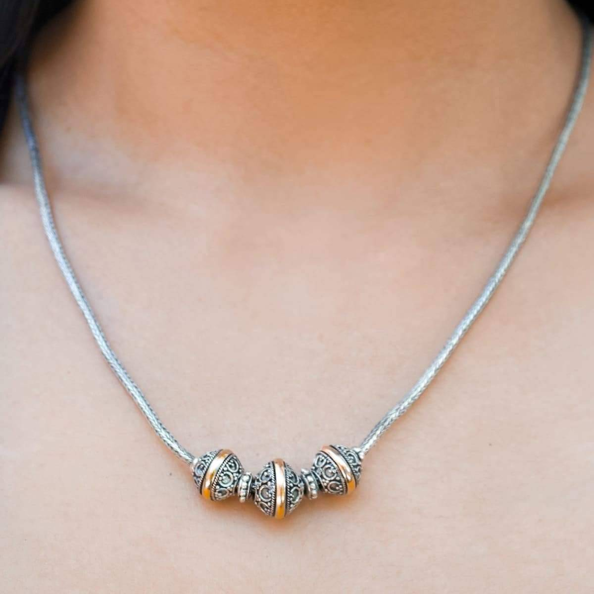 Aurolius Bali Silver Ball Beads Necklace with Gold 18 K Accents, Gift Idea for Her, Handmade jewelry