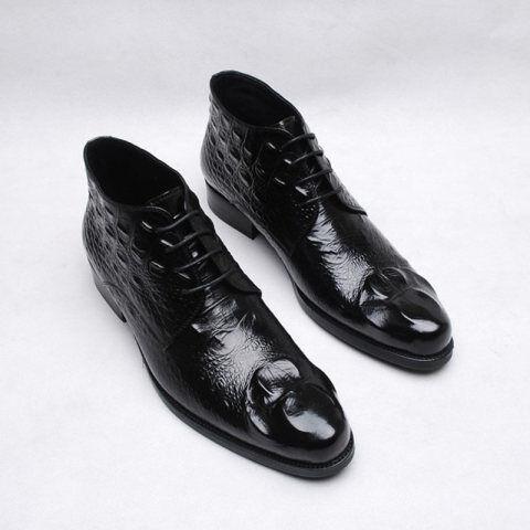 Menily Vintage Men Crocodile Pattern High-top Leather Shoes