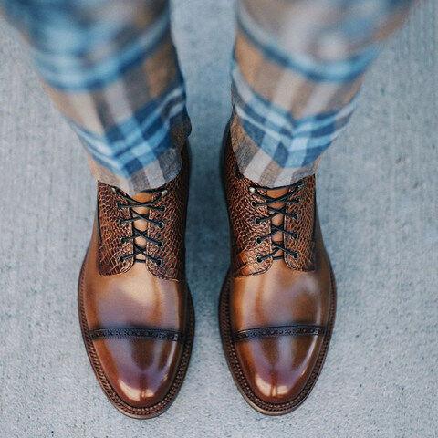Menily Men Vintage Snake Patchwork Ankle Boots