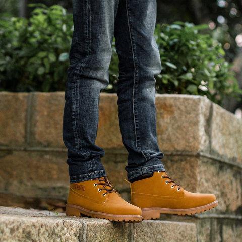 Menily Men's high-cut tooling Martin boots