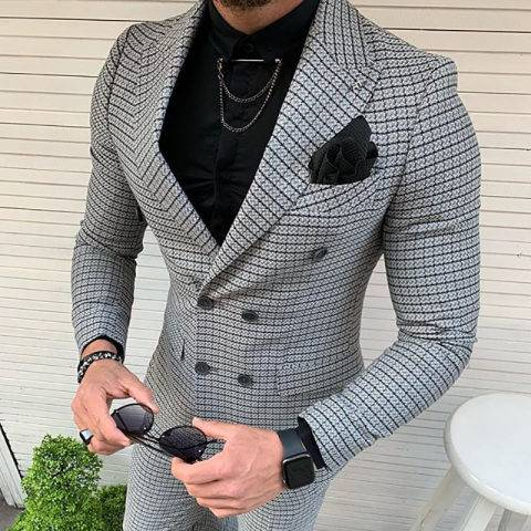 Menily Mens clothing mesh business casual fashion suit jacket
