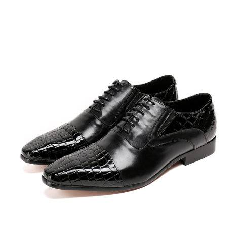 Menily Men's casual stitching embossed square head leather shoes