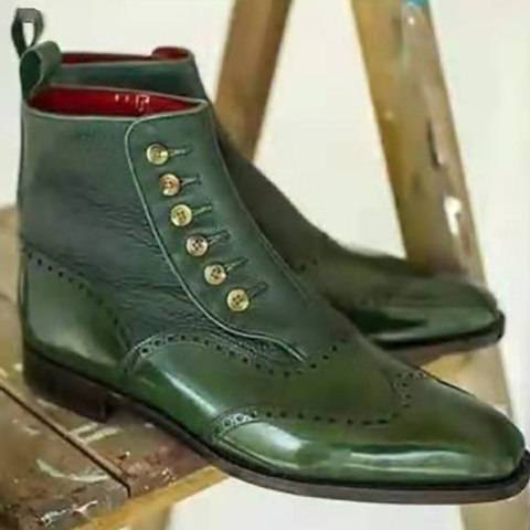 Menily Men Vintage Button Patchwork Plain Boots