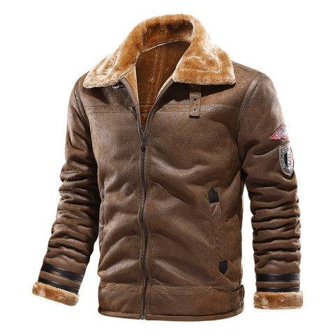 Menily Men's Outdoor Deerskin Velvet Waterproof Warm Jacket