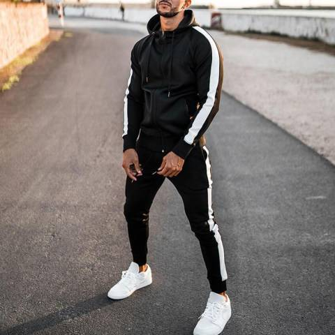 Menily Mens Black Sports Casual Jogging Pants Long Sleeve Suit
