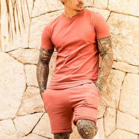 Menily Men's casual orange pink short-sleeved T-shirt shorts sports suit
