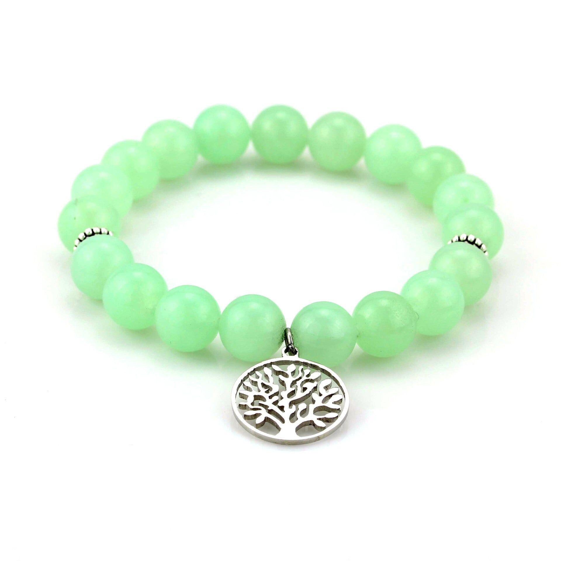 Balla Jade Tree of Life Silver Charm Beaded Bracelet