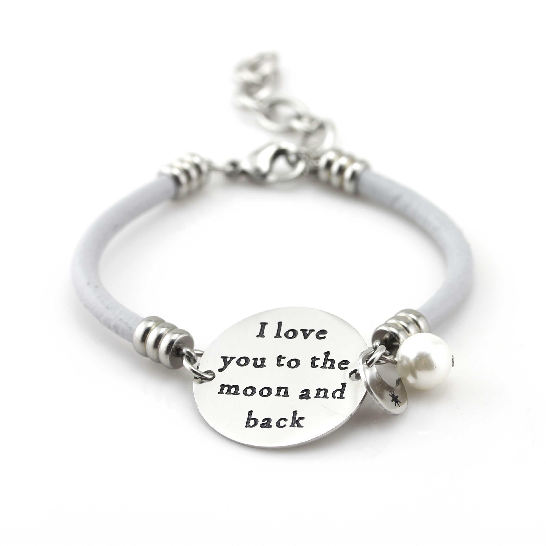 ballabracelets.com I Love You To The Moon Gray Leather Bracelet