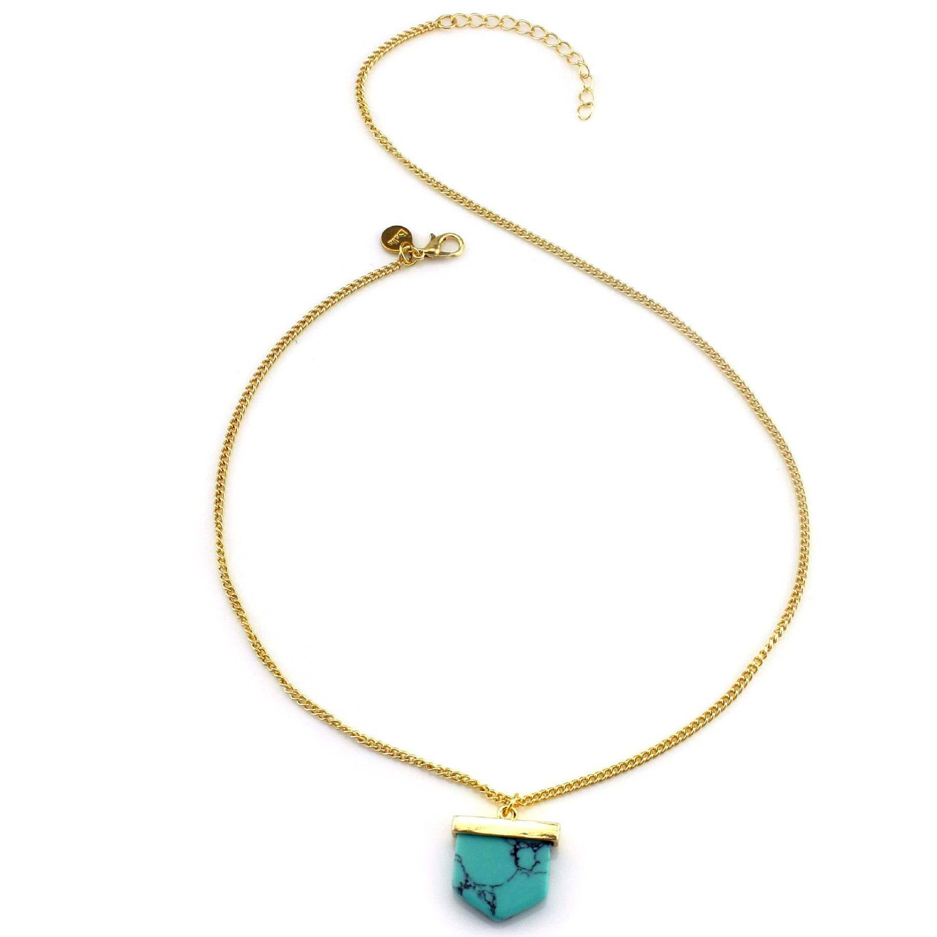 Balla Marbled Phoenix Turquoise and Gold Chain Pendant Necklace