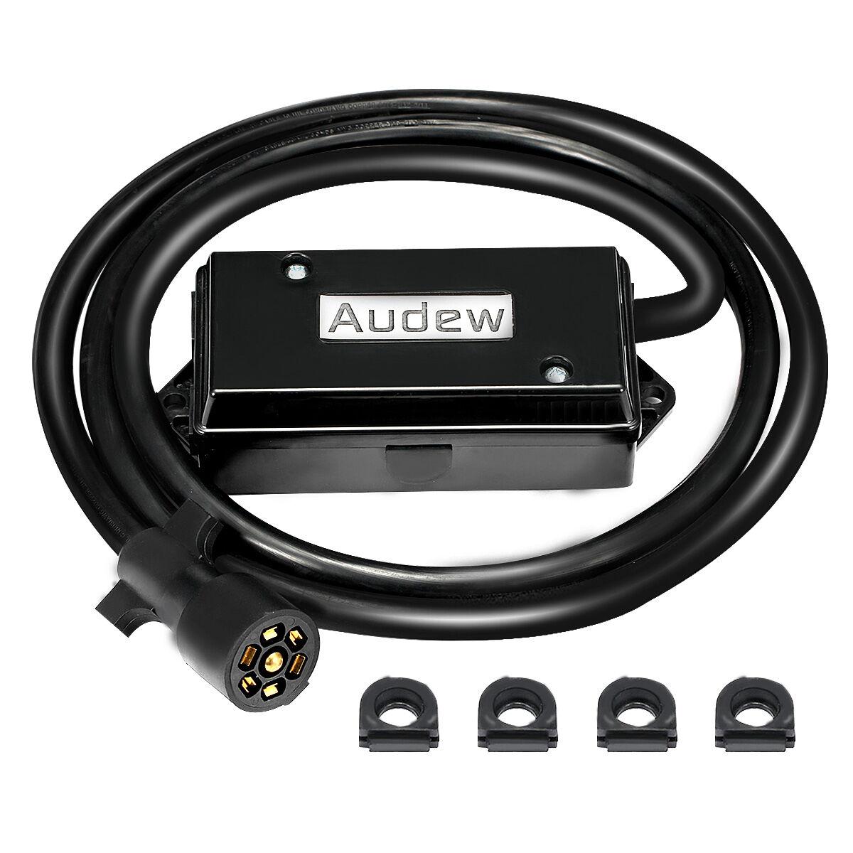 Audew Waterproof 7 Way Trailer Cord with 7 Gang Junction Box & Open/Close Grommets