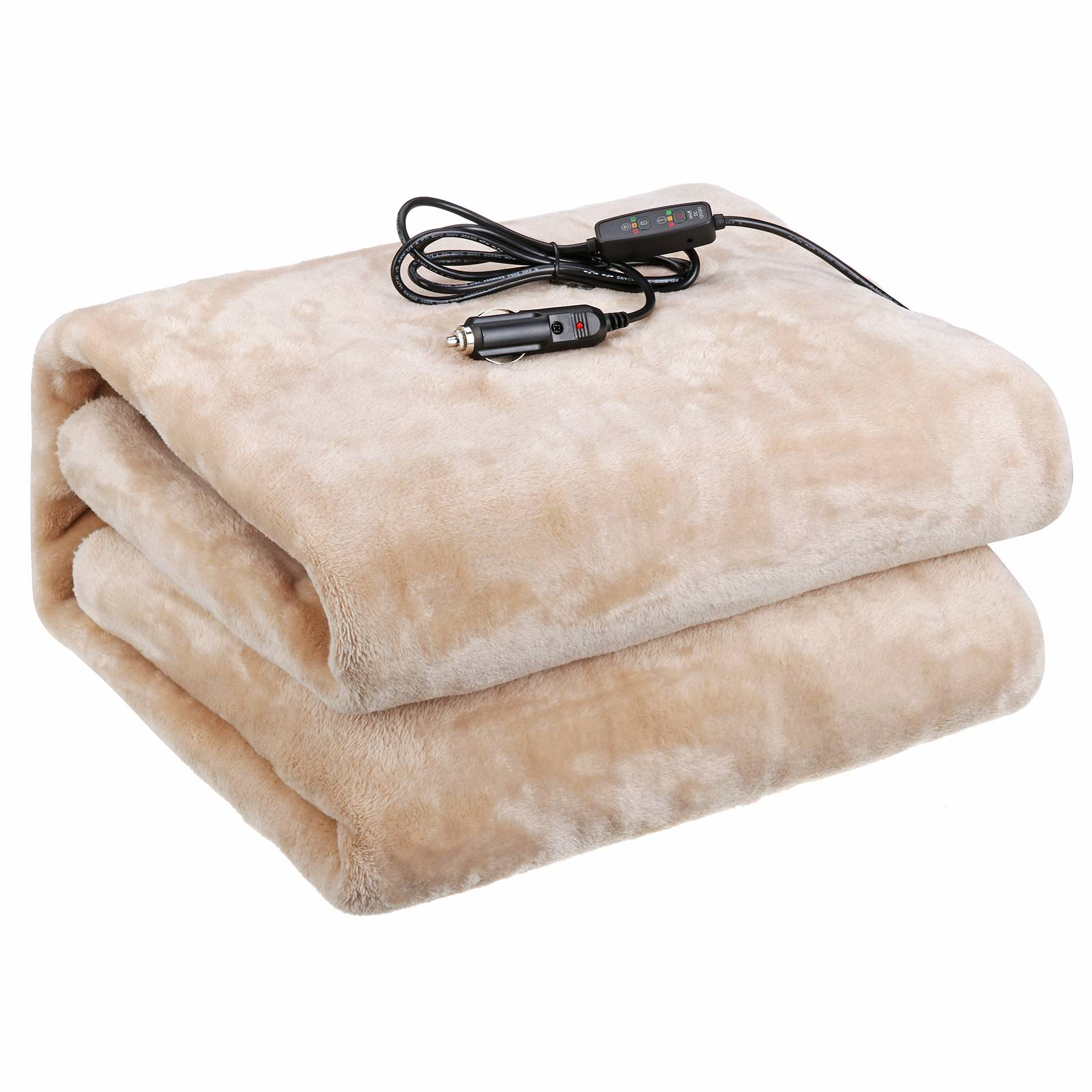 Audew 12V/24V Heated Car Blanket, Breathable and Soft Flannel Material, Great for Car, Truck & RV