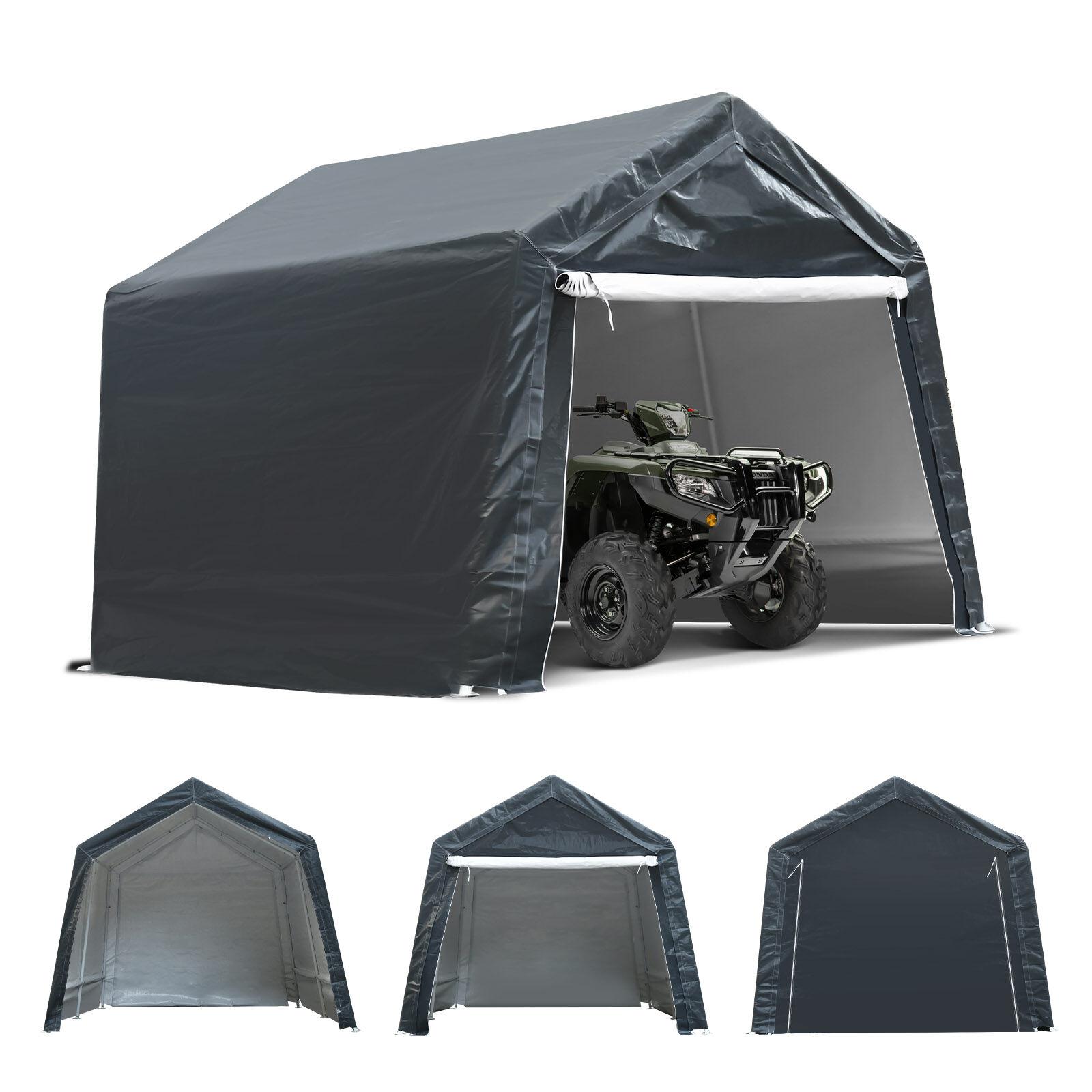 tooca 7x12x7.4 Ft Outdoor Garage Tent Kit with Detachable Roll-up Zipper Door for Motorcycle Gardening Vehicle ATV Storage, Ultimate Gray