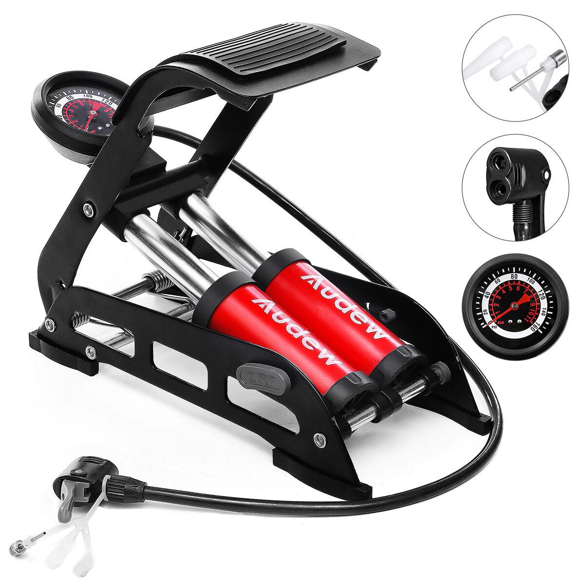 Audew 160PSI 35L/min Foldable Dual-Cylinder Bike Foot Pump with 3 Nozzles