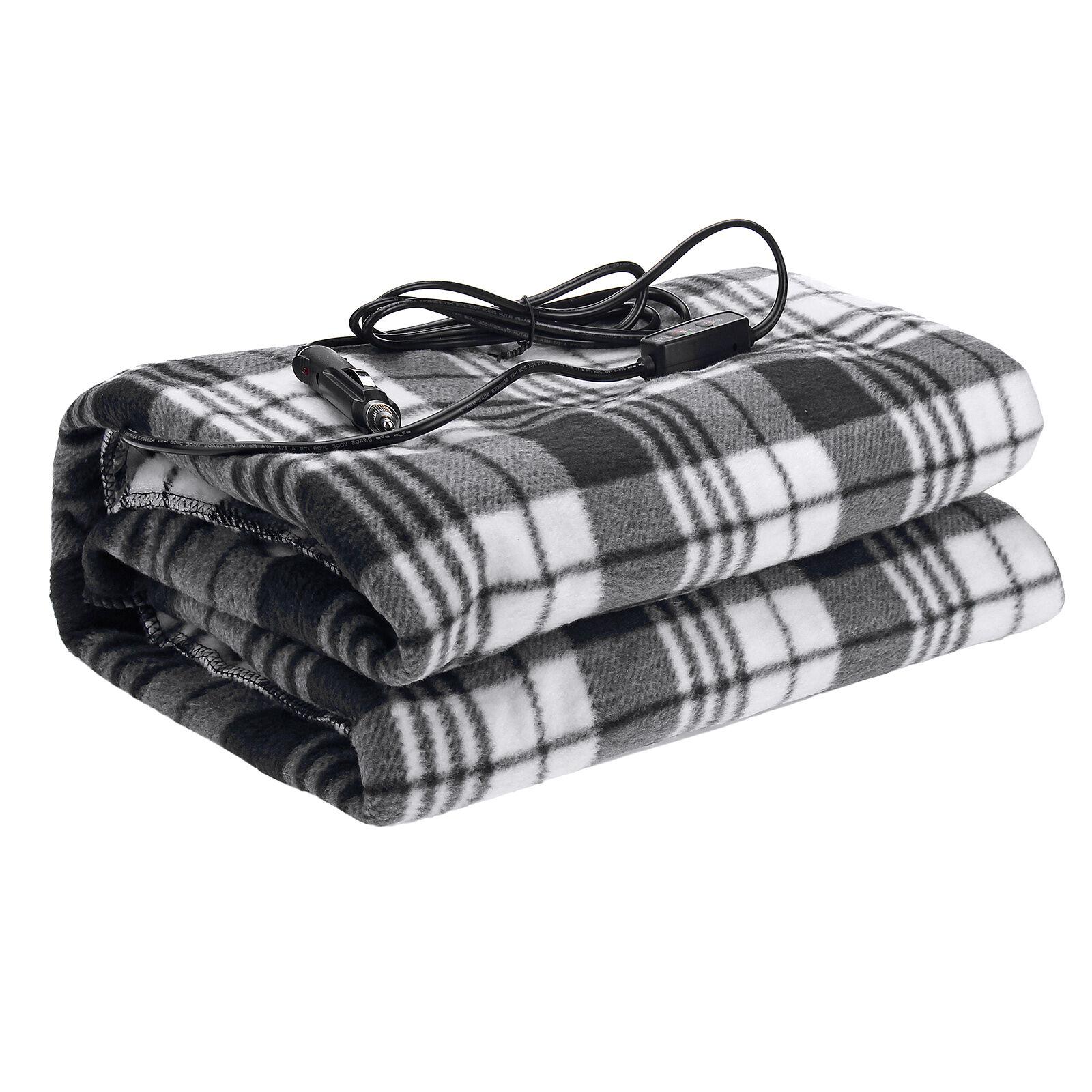 Audew12V/24V Heated Car Blanket, Polar Fleece Travel Throw for Car, Truck & RV (Black/White)