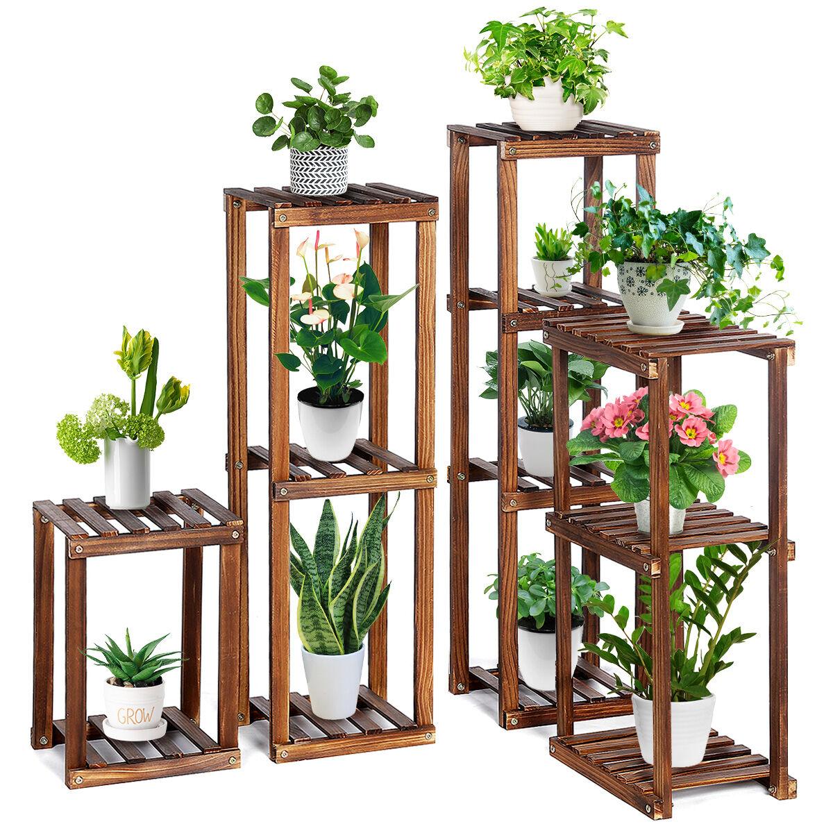 "tooca Wood Plant Stand Indoor, 4-Piece-Set 16""/27""/35""/38"" Flexible Combination Tall Plant Flower Pot Stands, Corner Outdoor Plant Display Holder, Vertical"
