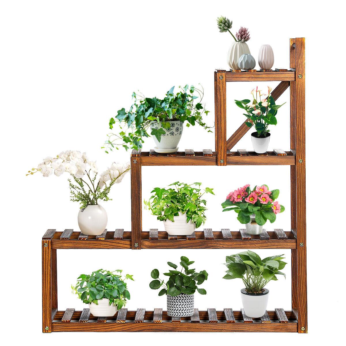 audew Wood Plant Corner Flower Pot Stand Stylish Display Rack Holder 3-Tier Steady Vertical Carbonized Shelves for Patio Living Room Balcony Garden Yard