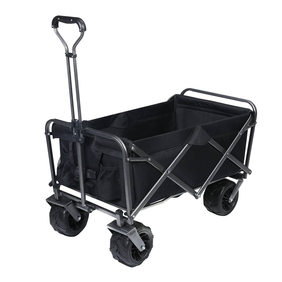 tooca Beach Wagon Collapsible Wagon Folding Utility Wagon Cart Outdoor with Wide All Terrain Wheels 265 Pound Capacity for Outdoor, Beach, Camping, Sports,