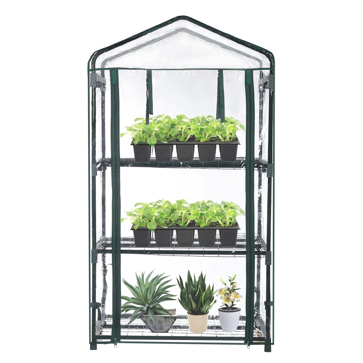 tooca Audew Mini Greenhouse 3-Tier Portable Plant Greenhouse For Indoor and Outdoor Gardens/Patios/Backyards