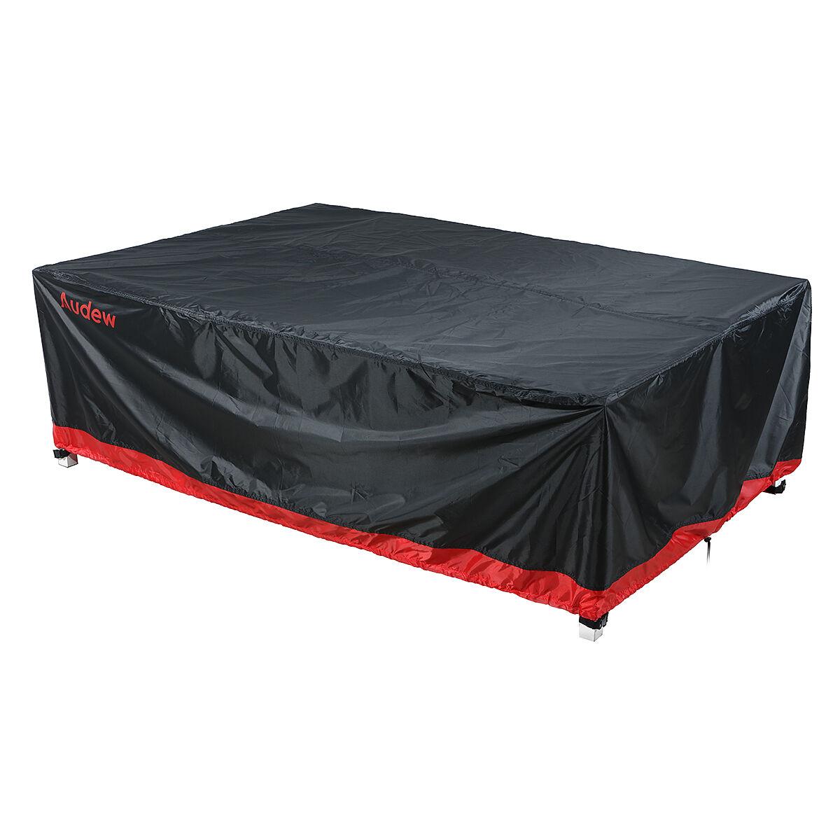"Audew 90.5""L x 64.5""D x 28.5""H 6-8 Seats Oxford Fabric Patio Furniture Covers, Black & Red"