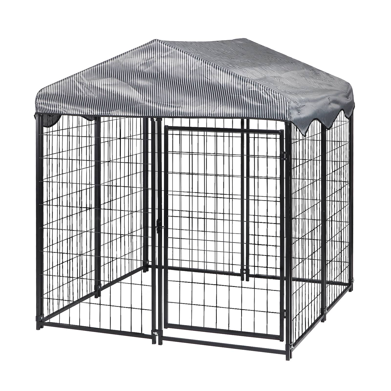 tooca 4'x4.2'x4.5'Outdoor Metal Dog Kennel for Large/Medium/Small Animal Run with UV Protective Cover & Invisible Lock