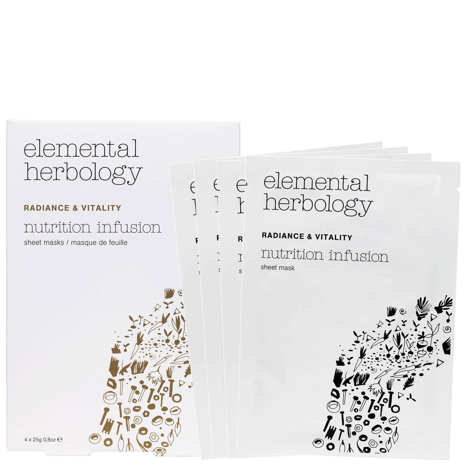 Elemental Herbology - Facial Treatments Nutrition Infusion Sheet Masks 4 x 25g  for Women