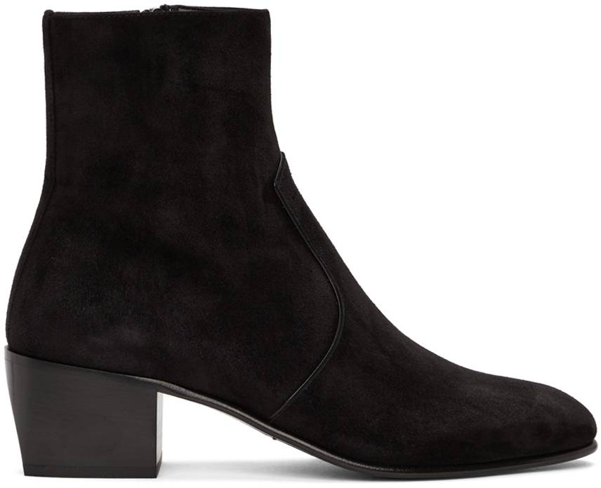 Saint Laurent Black Suede James Boots  - 1000 BLACK - Size: 40