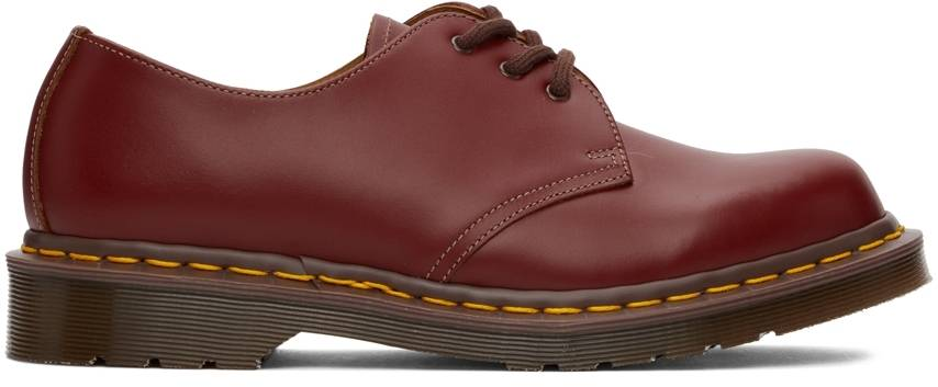 Dr. Martens Red 'Made In England' 1461 Vintage Oxford Shoes  - Oxblood Quilon - Size: 8